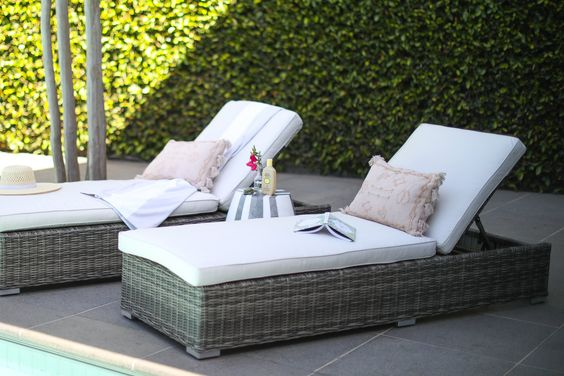 Set Sun Lounger Rattan Synthetic